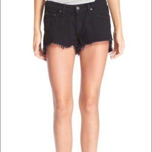 Rag & Bone black distressed jean cut off shorts 28